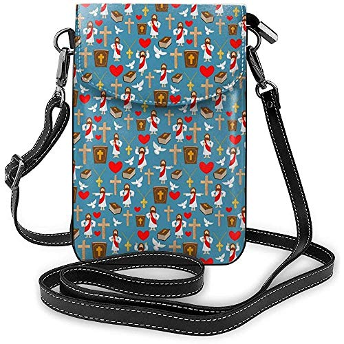 Jesus und Bibel Cross Handy Geldbörse Brieftasche für Frauen Shopping Travel Small Crossbody Bag