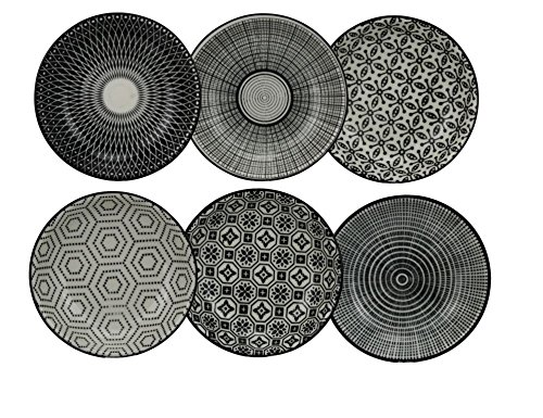 Ard'Time - Komaé Lot de 6 Assiettes Céramique Noir/Blanc