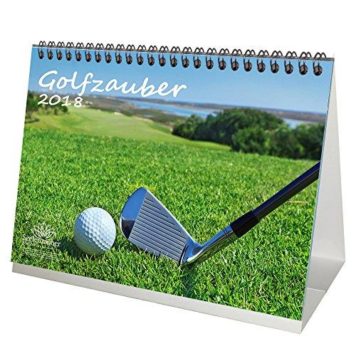 Premium Tischkalender / Kalender 2018 · DIN A5 · Golfzauber · Golf · Sport · Abschlag · Handicap · Geschenk-Set mit 1 Grußkarte und 1 Weihnachtskarte · Edition Seelenzauber