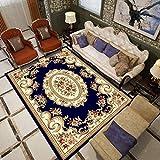 Blauer Retro-Muster-Stil Teppich Traditionellen Blumenteppich Wohnzimmercouch Tisch Teppich Schlafzimmer Bettwäsche Garderobe Küche Esszimmer Teppich Baby Krabbeln Matcan Werden Maschine Gewaschen,01,120×180Cm