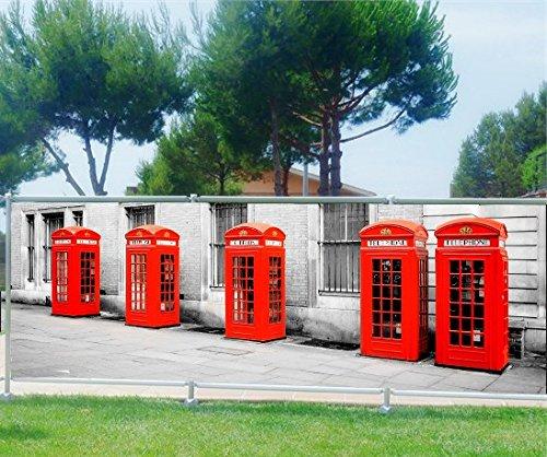 Stickersnews frangivista decorativo stampato: cabina telefonica, plastica tessuto, 100%, 340x132cm