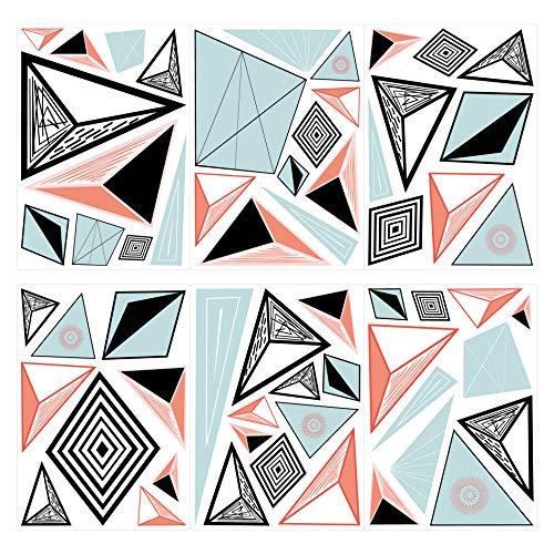 dekodino® Wandtattoo Retro Formen mit Muster Dreiecke 60 Stück Wohnzimmer