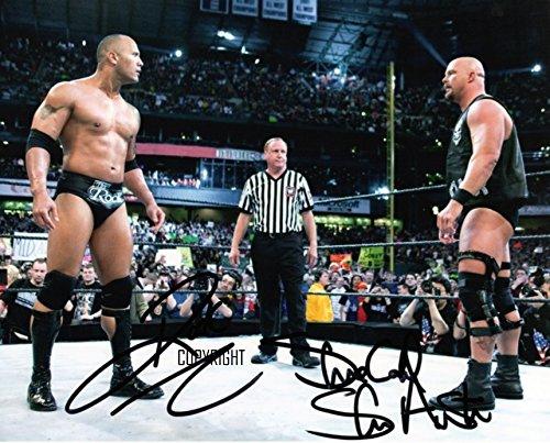 The Rock Stone Cold wrestling fotografia firmato edizione limitata + stampato Autograph