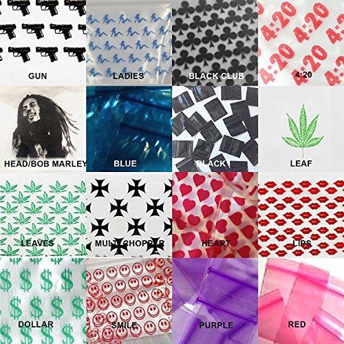 1000(2x kleine Kunststoff-Ziplock Baggies klar, Kunststoff, klar, mit Bob Marley-Reißverschluss-Siegel Baggys Baggies Verpackungsmaterial verschiedene Designs Blätter