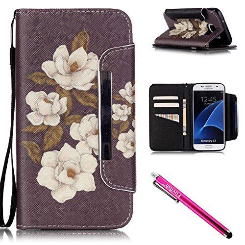 Galaxy S7 Hülle, Tasche Ledertasche Flip Beutel Haut Slim Fit Bumper Schutz Magnetisch Schließung...