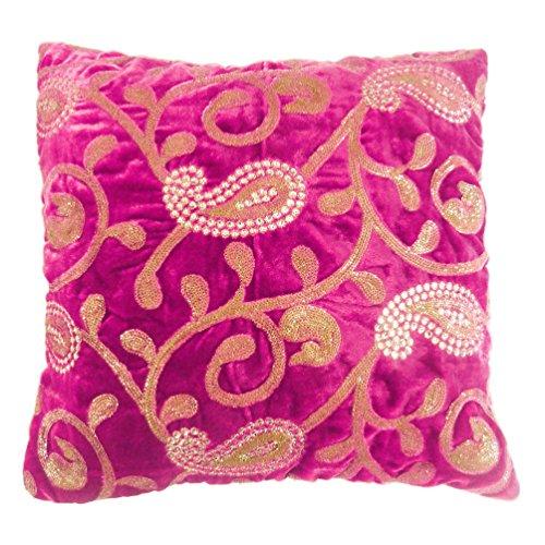 indiano federa Paisley ricamato Home Decor rosa cuscino in velluto di 40,6cm