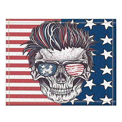 GzHQ Unabhängigkeitstag-Schädel des Menschen mit Sonnenbrille auf den abstrakten USA-Flaggen-Bad-Wolldecken rutschfeste Boden-Eingänge im Freien Innenfronttür-Matte 16X24 Zoll-Bad-Matte
