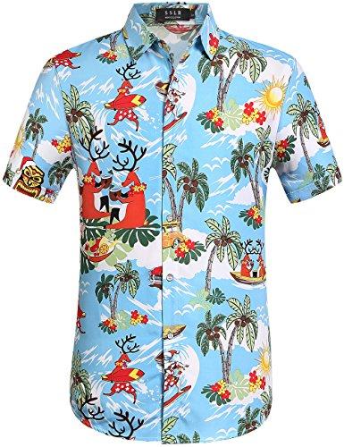 SSLR-Camisa-Hawaiana-Aloha-Tropical-Casual-Hombre-Manga-Corta-de-Papa-Noel-Navidero-XX-Large-Azul