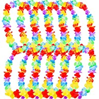 10 Pieces Hawaiian Ruffled Flower Lei Luau Floral Leis for Dress, Party Necklace and Beach (Multicolor A)