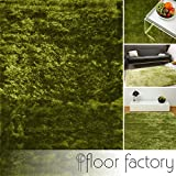 floor factory Exklusiver Hochflor Shaggy Teppich Satin grün 80x150 cm - edler, seidig glänzender Teppich