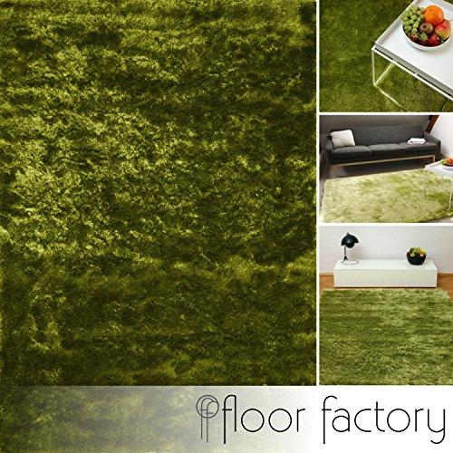 Floor factory tappeto esclusivo moderno satin verde 200x290 cm - tappeto shaggy pelo lungo