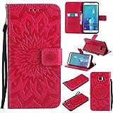 Nancen Compatible with Handyhülle Galaxy S6 Edge Plus Hülle,Galaxy S6 Edge Plus/SM-G928 (5,7 Zoll) Leder Wallet Tasche Brieftasche Schutzhülle, Prägung Sonnenblume Muster