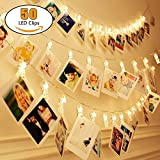 Naisidier LED Foto Clips Lichterkette 50 LED Foto Klammern 5 m/16.4 Ft Batteriebetriebe Foto Lichterketten für Stimmung Beleuchtung, Weihnachten, Valentinstag, Hochzeit, Party und Haus Deko Warmes Lic