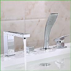Bijjaladeva Miscelatore per Lavabo Rubinetto Bagno a Cascata Finitura Le coordinate di tutta la vasca di rame rubinetto a 4 pezzo split bordo vasca a 4 fori rubinetto con doccia