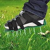 TIMESETL pelouse aérateur 8 sangles réglables, aérateur de gazon chaussures à ongles avec 5cm clous, pour jardin de jardin, 1 paire, vert