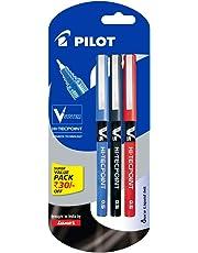 Pilot V5 Liquid Ink Roller Ball Pen - 1Blue + 1Black + 1Red