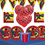 Spiderman Birthday Party Bundle for 16 Spiderman tableware and decorations