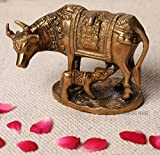 #7: Jaipuri haat Pure Brass prosperous Kamdhenu Cow with calf for Pooja and Gift purpose in new house