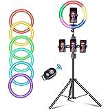Wuudi 10 inch led-ringlamp, led-dimmen RGB selfie-ringlamp, met drie poten en Bluetooth zelfontspanner voor make-up, live-ove