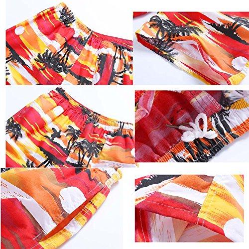 Sommer Männer Strandhosen Schnelltrockner Casual Hosen Sporthosen lose Hosen rot weiß