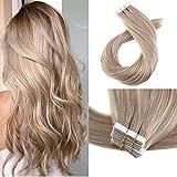 Moresoo 20Zoll/50cm 100g/40pcs Echtaar Tape in Human Haarverlängerung #18 Ash Blonde Haar Verlängerung Zum Kleben Remy Echthaar Extensions