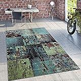 Paco Home Designer Teppich Modern Wohnzimmer Ölgemälde Abstrakt Rost Optik In Grün Schwarz, Grösse:160x220 cm