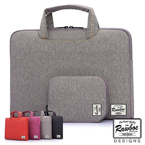 Wasserdicht Laptop Tasche Sleeve, 36,6cm Fall, Carrier für Laptops und Smartphones, multifunktionale weicher Aktentasche, mit Griffen, für Schüler, Schule, khaki, schwarz, violett, rot, von rawboe Grau khaki 13,3 zoll (Oakley Tote)