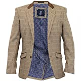 Cavani Mens New Baron Tweed Regular Fit Blazer Tan Check UK 48 = EUR 58