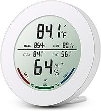 ORIA Digitales Thermo-Hygrometer, Indoor Hygrometer Thermometer Mini Luftfeuchtigkeit Messen, Thermometer Innen mit LCD-Bildschirm, MIN/MAX-Aufzeichnungen, Trendtemperaturänderung, °C/°F-Schalter, Komfortanzeigen Weiß