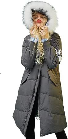 Elf Sack Donna Collo di Pelliccia Piumino con Cappuccio Winter Parka Cappotto Trapuntato Lungo