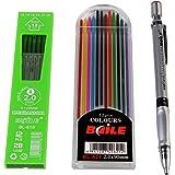 Kabeer Art Set Of Mechanical Lead Pencil + 12 Black Leads + 12 Color Leads