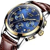 Blue Face Fashion Casual Herren Armbanduhr mit Leder Uhr Band, Chronograph Herren Sport Uhren wasserdicht 30 m Auto Datum Armbanduhr Analog Quarz