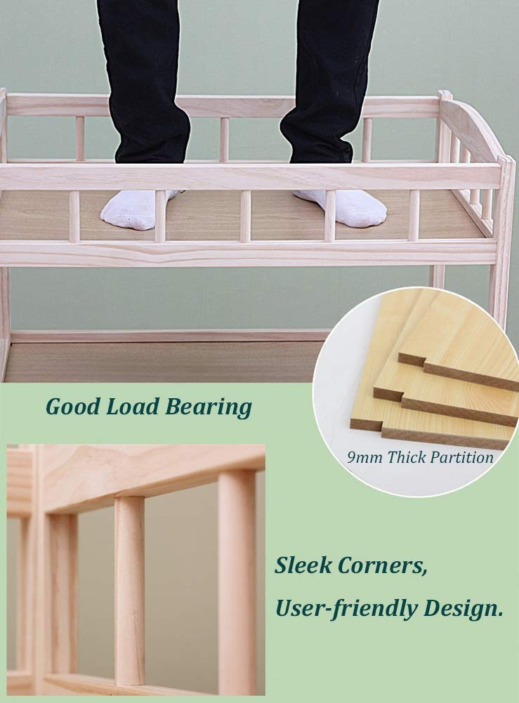 Baby Changing Table Dresser Unit with Mosquito Net & Storage Box, Heavy Duty Wood Diaper Station On Wheels GUYUE 2-gear higth adjustment (88-95cm), the height can be adjusted freely according to the height of the mother. Guardrail: Guardrail height 13cm, Protect your baby's delicate body. Strong and sturdy wood construction, Pine wood production, health and Environmental Protection.(Load bearing 150kg) 6