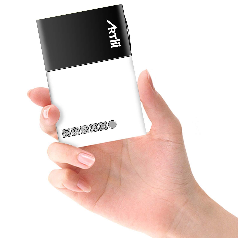 Artlii Mini Projecteur, LED Portable Projecteur avec USB-SD-AV-HDMI pour Loisirs Maison Film Theatre,Video,Camping,Jeu(Classique Noir Blanc)