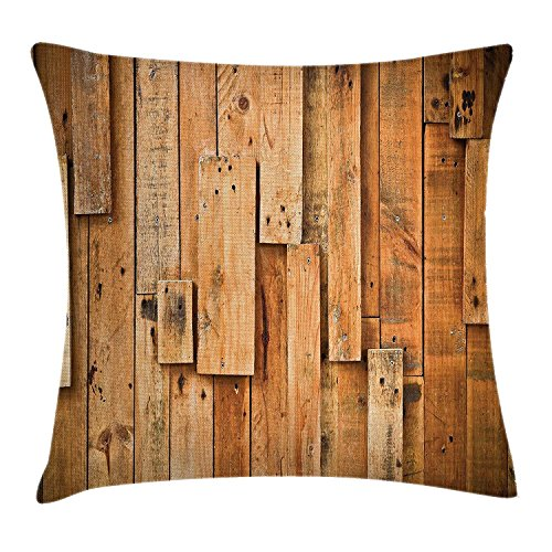 Teak Plank (Shower Curtain Wooden Throw Pillow Cushion Cover, Lodge Style Teak Hardwood Wall Planks Image Print Farmhouse Vintage Grunge Design Artsy, Decorative Square Accent Pillow Case, 18 X 18 Inches, Brown)