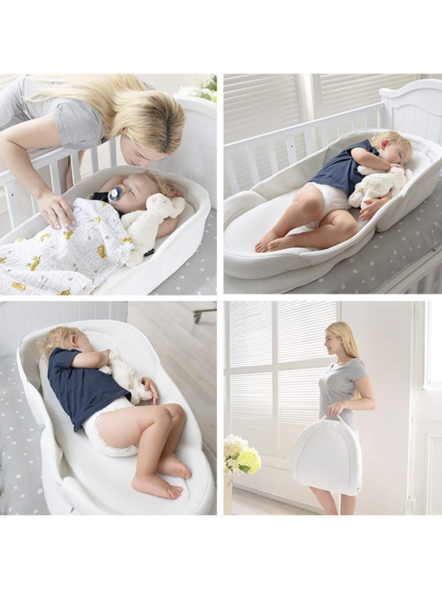Bebamour Baby Bed Foldable Bassinet for Bed Bionic Travel Bed Womb-Like Protector Baby Snuggle Nest Bed Baby Sleeping Pods for 0-36 Months (Grey) bebear Premium Material: Using new materials produced in Germany which is made of 3D solid surface material on the basis of 'Warp Knitting' core technology. It's very durable, light and soft. Womb-Like Design: The womb encircling design simulates mother's warm womb, it can bring sufficient security to the baby and let the baby enjoy the comfortable sleep. Breathable & Washable: Thousands of hollowed-out mesh holes and elastic air layer can maintain air circulation. It can be taken apart to wash in the washing machine. 2