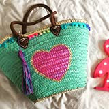Neon Heart Tote large. Capazo de Playa.