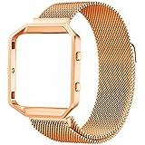 Greatfine Correa Reemplazo SmartWatch Band de Reloj de Acero Inoxidable Milanese Bucle Magnético de Pulsera Accesorios para Fitbit Blaze Smart Fitness Watch, Plata (Size Large RoseG)