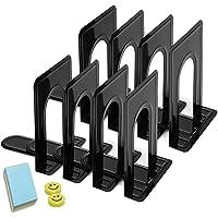 Qualsen 4 paires Serre-livres en métal pour étagères, bureau, maison, école, dortoir, Noir, 17 x 12 x 15 cm