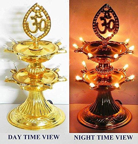 Buycrafty 2 Layer-electric Doré lampe Deepak lampe de riz de vœux de Noël Motif Diwali Décoration lumière LED