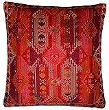 Lorenzo Cana Home Edition Luxus Kissenhülle handgewebt Mehrfarbig 100% Baumwolle Kissenbezug Zierkissen Zierkissenbezug Kissen Sofakissen Pink Rot Orange Violett 96123