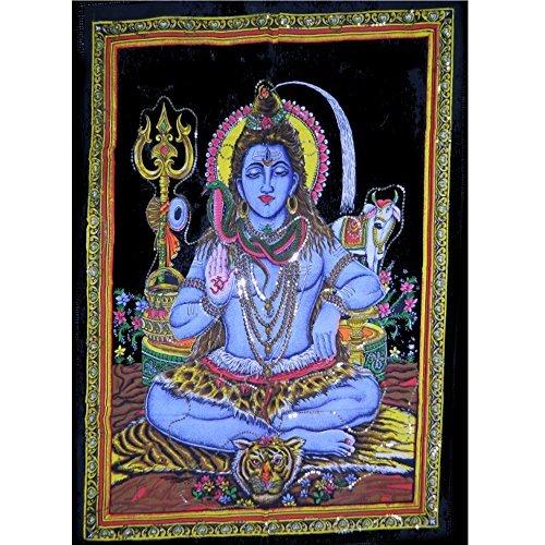 Wandbild Gott Shiva blau 104x77cm Pailletten Baumwolle (Shiva-bild)