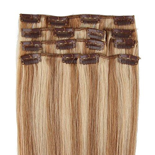 Beauty7 Extensions de cheveux humains à clip 100% Remy Hair #18/613 Blond foncé/Blond très clair Longueur 50 cm Poids 70 grams