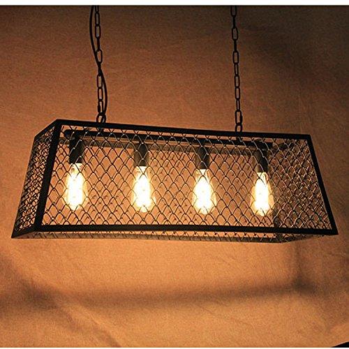 DYBLING Lampadario a LED semplici camere da letto moderne corridoio bar illumina Ciondolo lampada da soffitto industriali pendenti di ferro di forma rettangolare - Rettangolare Pendente A Forma