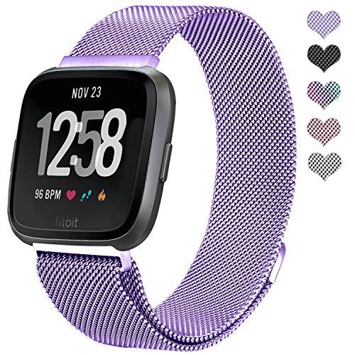 Straper Für Fitbit Versa Armband, Elegant Atmungsaktiv Milanese Edelstahl Uhrenarmbänder Metall Ersatzarmbänder Starkem Magnetverschluss für Fitbit Versa Sport Groß Damen Lavendel Einweg Package - Einweg Metall