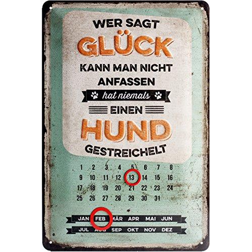 Nostalgic-Art 22270 PfotenSchild - Glück anfassen, Kalender-Blechschild 20x30 cm