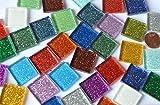 40 St. Glas-Mosaiksteine Buntmix mit Glitzer 2x2cm ca. 140g