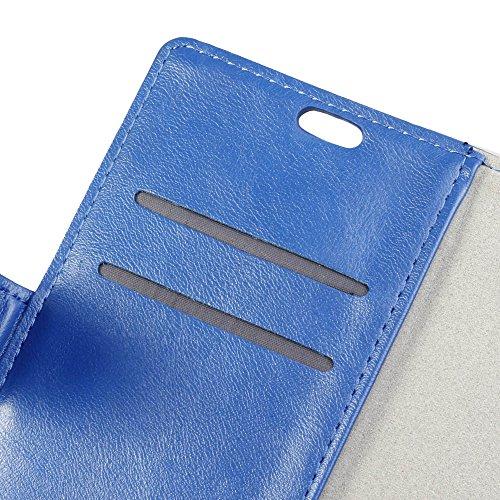 Crazy Horse Texture Pattern Faux Ledertasche Bookstyle Horizontale Flip Stand Case mit Card Slots für Asus Zenfone 4 ZE554KL ( Color : Black ) Blue