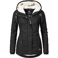 XiAOL - Cappotto invernale da donna, spesso, con cappuccio, imbottito e impermeabile, lungo, caldo, vestibilità aderente