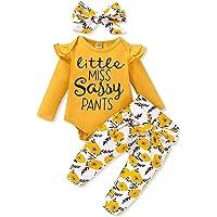 3 Pcs Vêtements Bébé Fille Ensemble 0-18 Mois Haut Blanc Lettre Imprimée + Pantalon à Fleurs + Bandeau Naissance Tenues…